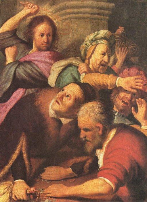 Рембрандт, Харменс ван Рейн. «Христос, изгоняющий менял из храма»
