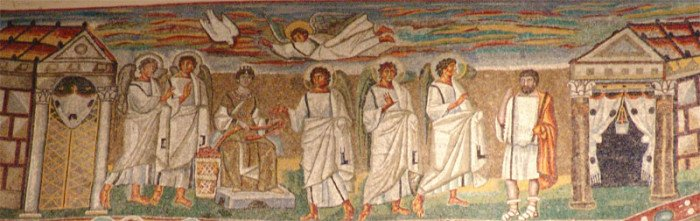 Благовещение. Мозаика триумфальной арки базилики Санта-Мария Маджоре в Риме, 432–440 гг.