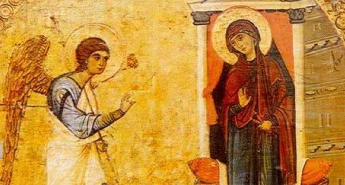 Благовещение, XII век, фрагмент эпистилия, монастырь святой Екатерины, Синай.