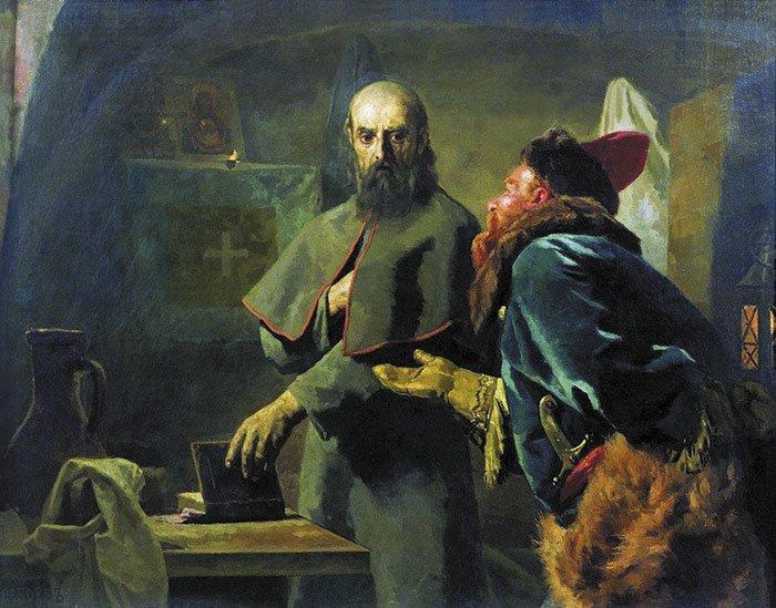 Кончина митрополита Филиппа  (Последние минуты митрополита Филиппа).  Н.В. Неврев. 1898