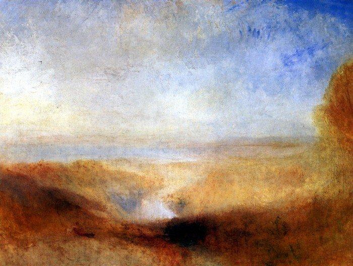 Пейзаж с далекой рекой и плотиной. 1835-1840. Холст, масло. 93x123. Париж, Лувр.