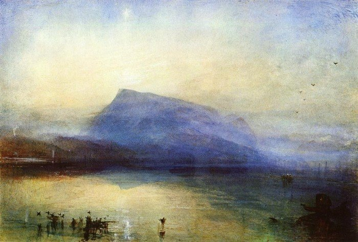Гора Риги: вид на Люцернское озеро на восходе. 1842 г. Акварель, бумага, 45 x 29,7 см. Тейт Британ, Лондон, Великобритания.