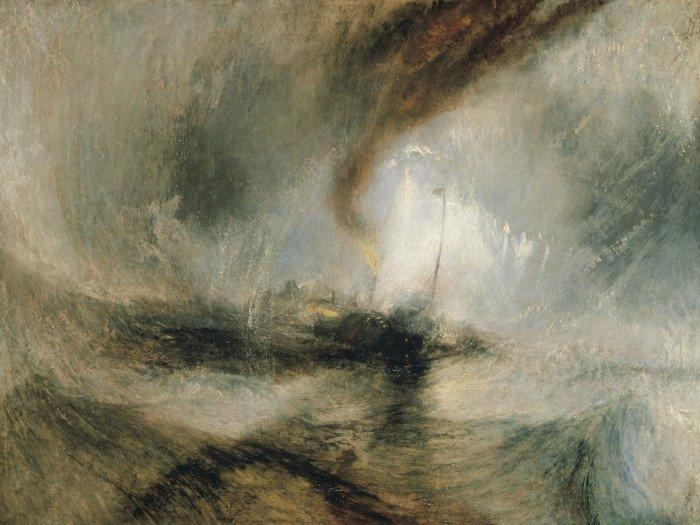 ) Метель. Пароход выходит из гавани и подает сигнал бедствия, попав в мелководье. 1842 г. Холст, масло. 91,5 x 122. Галерея Тейт, Лондон, Великобритания