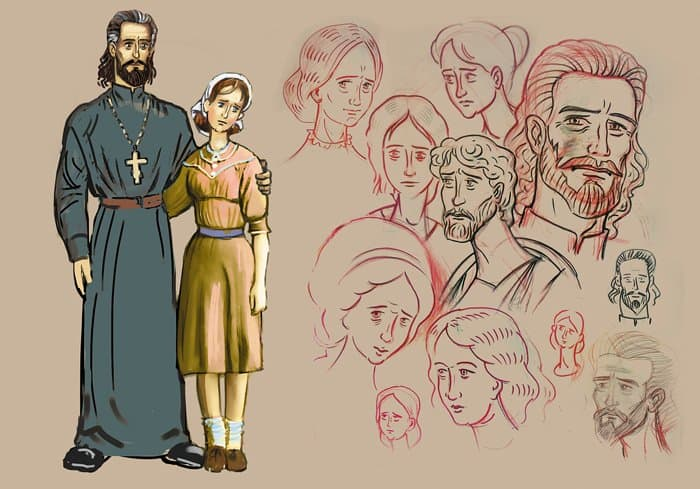Этапы работы над персонажами (родители Серафимы)