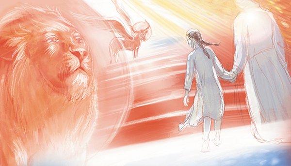 Эскиз кэпизоду— преподобный Серафим ведет Симу вЦарствие Небесное