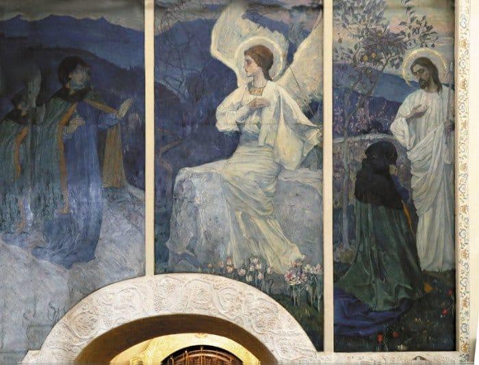 Благовещение. Фреска Покровского храма Марфо-Мариинской обители