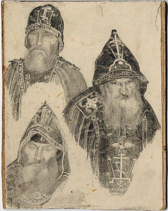 Три схимонаха. Первая четверть XX века, ИЗО фонд ЦАК. На рисунке схимонах Кириак и иеросхимонахи Алексий иАнтипа