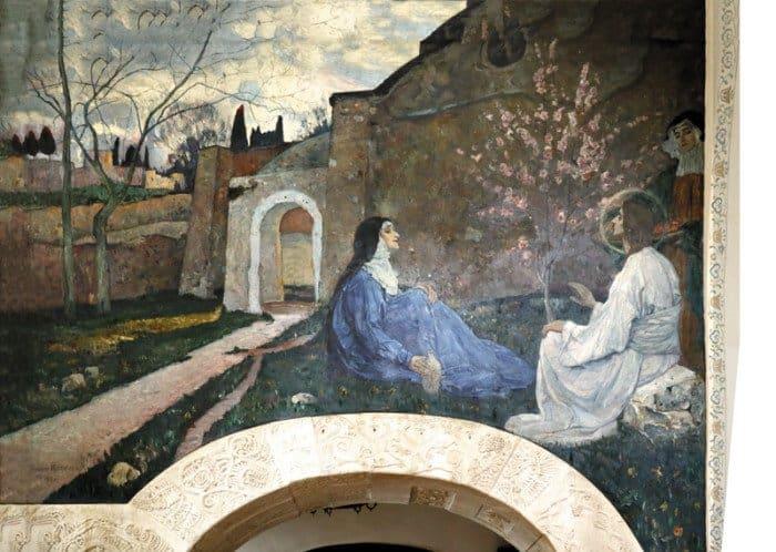 Христос исамарянка. Фреска Покровского храма Марфо-Мариинской обители