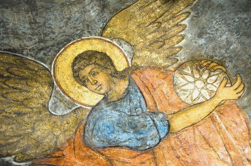 Ангел. Фреска соборного храма Сретенского монастыря