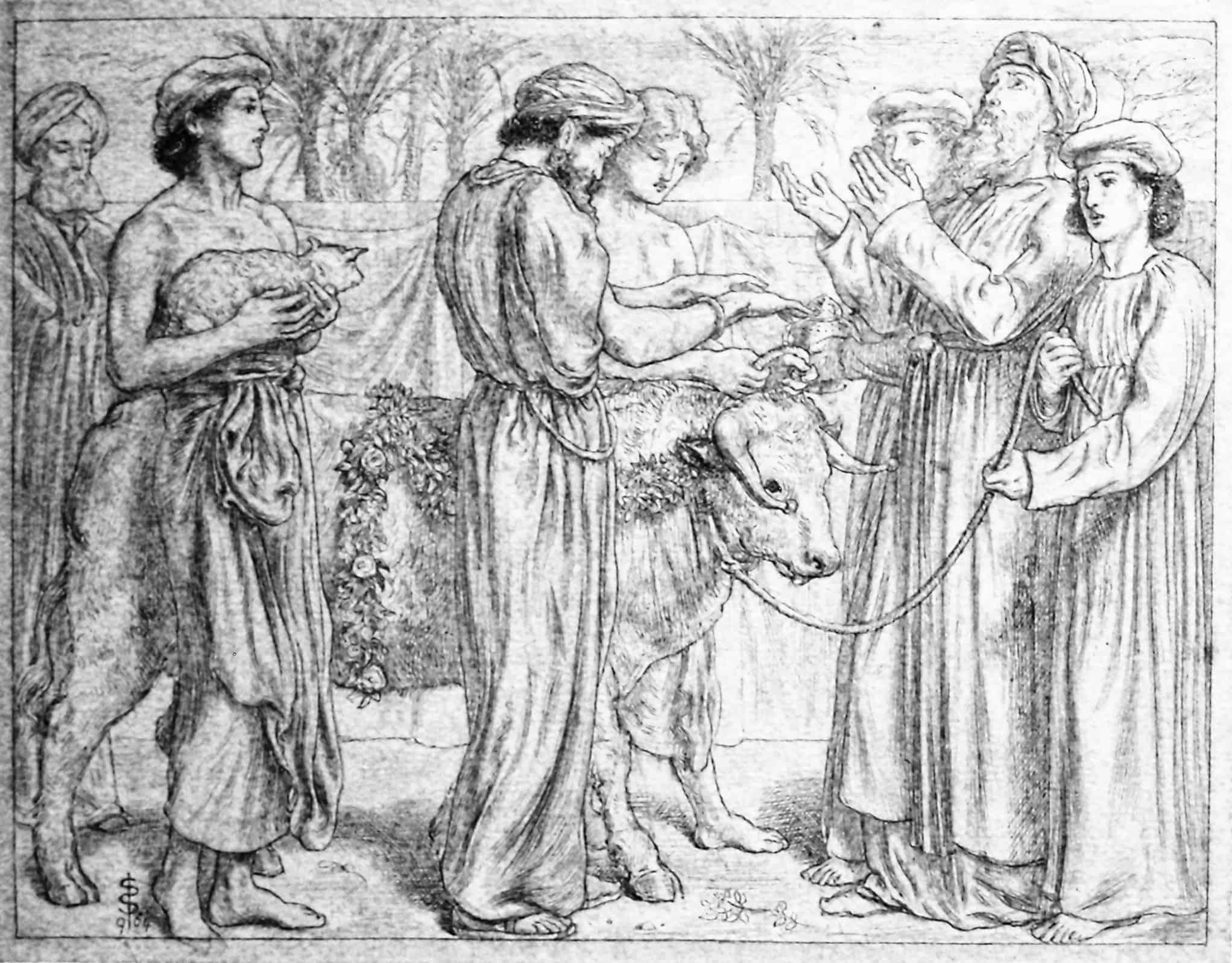 Первое жертвоприношение Аарона. Рисунок Симеона Соломона.
