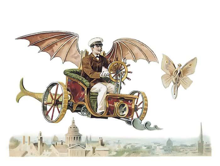Воздухоплаватель. Литография. 1890