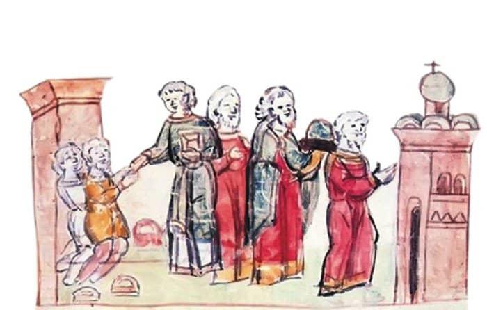 Молитва князя Владимира в десятинной церкви. Миниатюра из Радзивилловской летописи. Конец XV в.