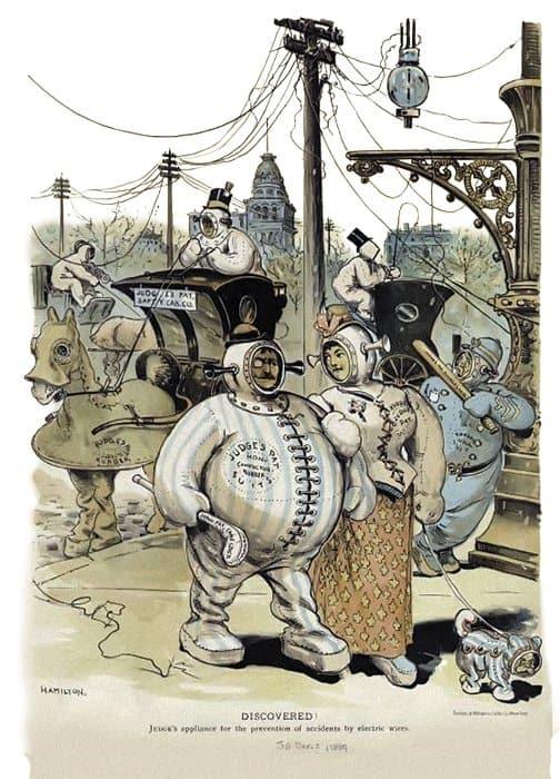 Меры предосторожности от несчастных случаев, связанных сновомодным электричеством. Карикатура. 1889