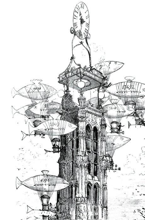 Остановка аэростатов у башни. Альбер Робида. Рисунок конца XIXв.