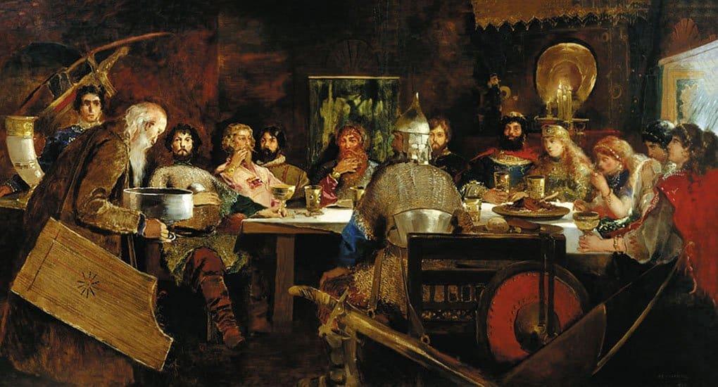 Пир богатырей уласкового князя Владимира. А. П. Ряпушкин. 1888