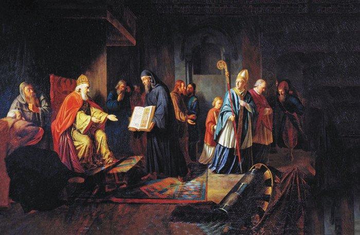Великий князь Владимир избирает религию. И. Эггинк. 1822