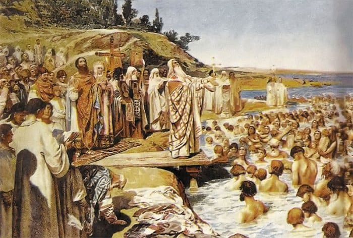 Крещение киевлян. К. Лебедев. Конец XIX в.