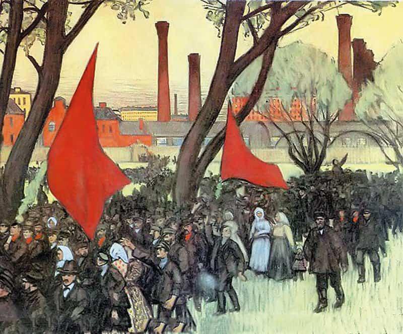 Первомайская демонстрация у Путиловского завода. Борис Кустодиев. 1906