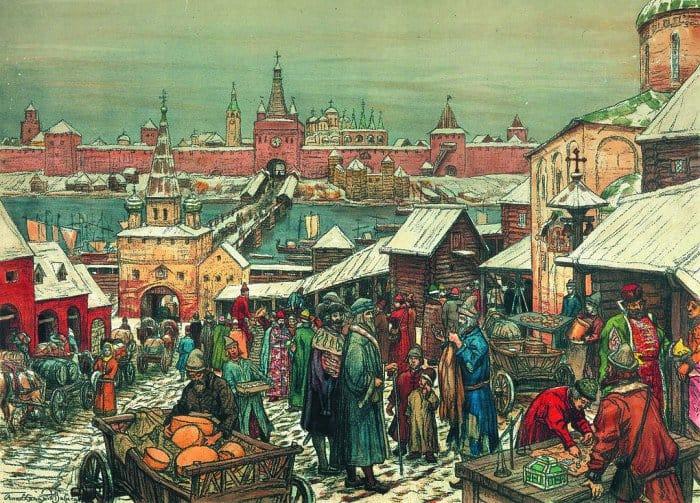 Новгородский торг. Аполлинарий Васнецов. 1909