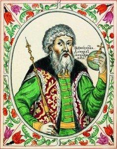 Св. кн. Даниил александрович. Миниатюра из Царского тутулярника. 1672-1673 гг.