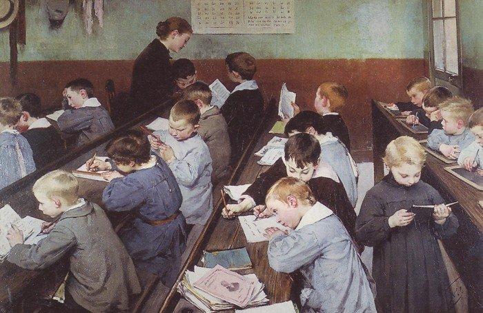 Henry Jules Jean Geoffroy. En classe, le travail des petits. French, 1853 - 1924