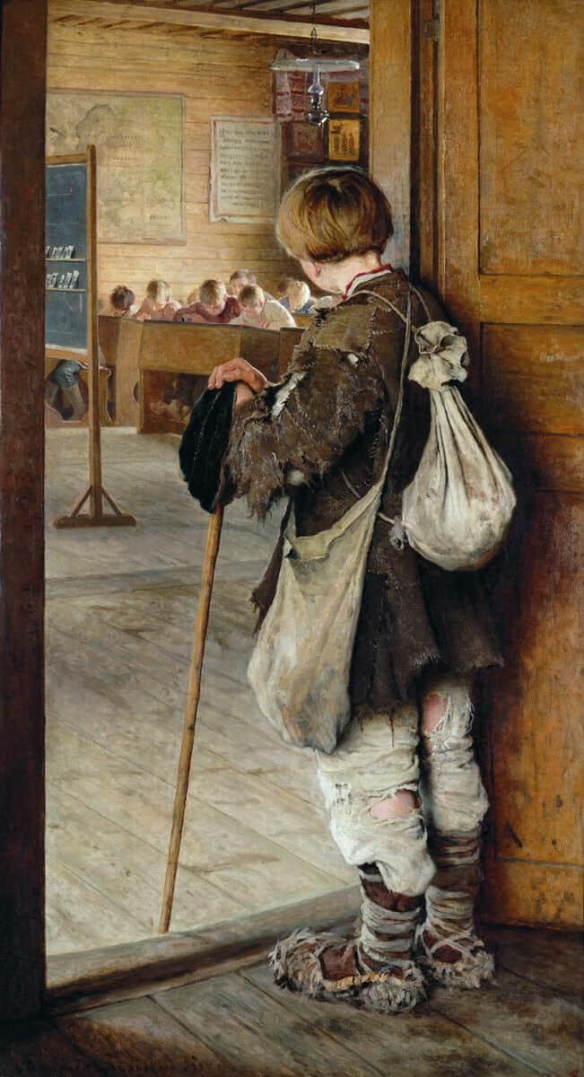 Николай Богданов-Бельский У дверей школы 1897 г.