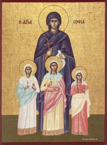 Вера, Надежда, Любовь и матерь их София. Икона Византийского стиля. Датировка неизвестна