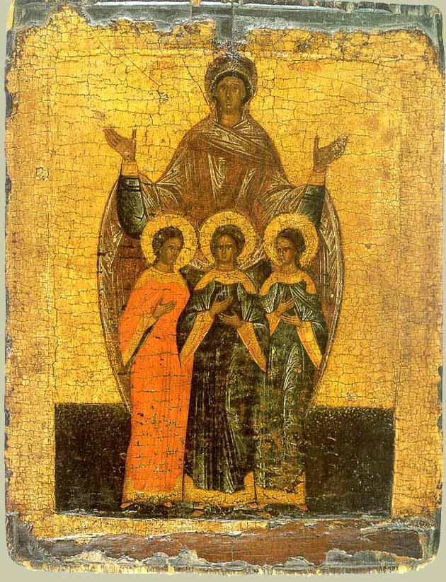 Вера, Надежда, Любовь и матерь их София. Новгородское письмо, XVI век