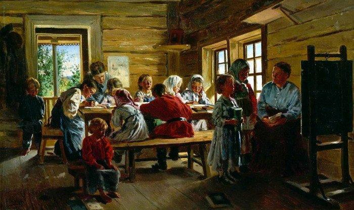 Владимир Маковский. В сельской школе. 1883.