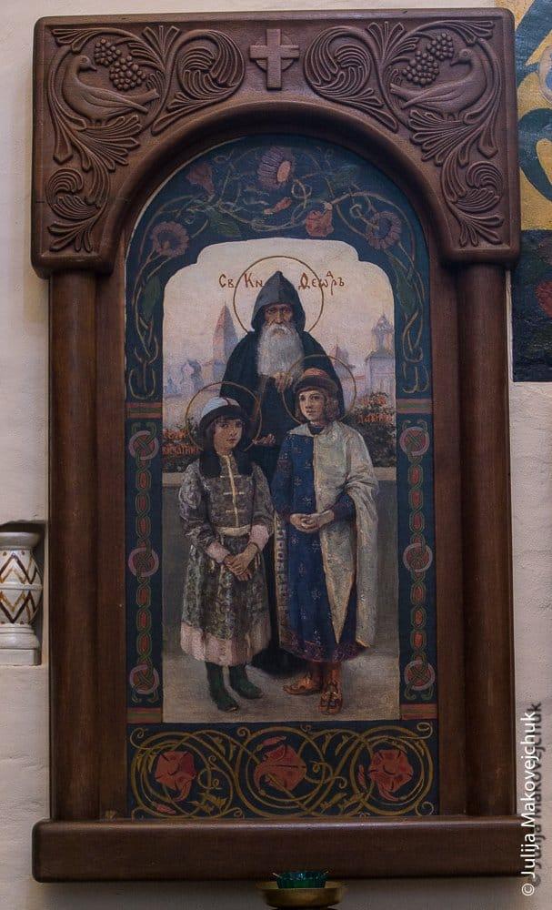 Князь Федор с сыновьями Константином и Давидом. Икона написана Е. Д. Поленовой, сестрой В. Д. Поленова