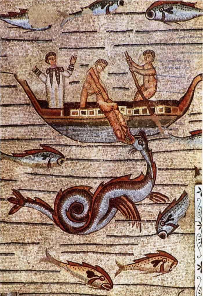 Aquileia - Basilica - Mosaico con Giona ingoiato da mostro marino