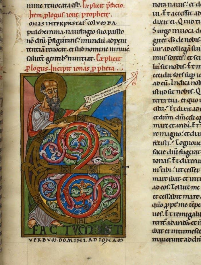 Инициал E. Иона пророк. Германия. Средний Рейнланд, Франкенталь. XII в. Библия