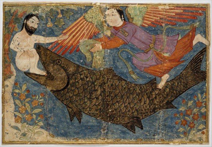 Иона и Кит. Лист из Сборника летописей. Jami al-Tavarikh. Иран. XIV в.