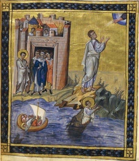 Jonas jeté à la mer, Jonas craché par le monstre, Jonas et Dieu, prédication à Ninive. Paris psalter, folio 431v