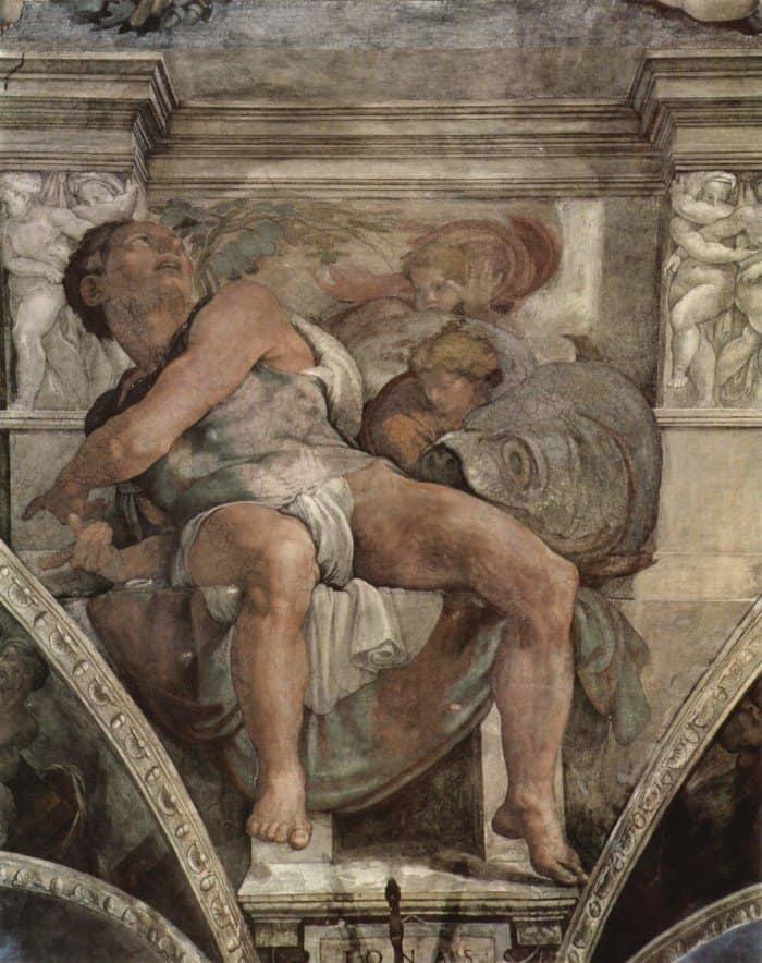 Микеланджело Буонаротти. Пророк Иона. Фреска плафона Сикстинской капеллы.