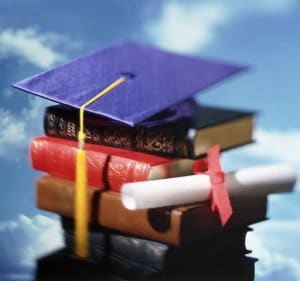 Books and Graduation Cap and Diploma