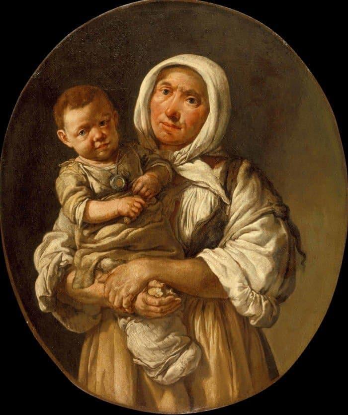 Открытки ко дню матери: Джакомо Черути Питочетто. Мать и дитя. Около 1730. Художественный музей. Лос-Анджелес