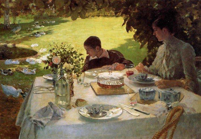 Открытки ко дню матери: Джузеппе де Ниттис. Завтрак в саду