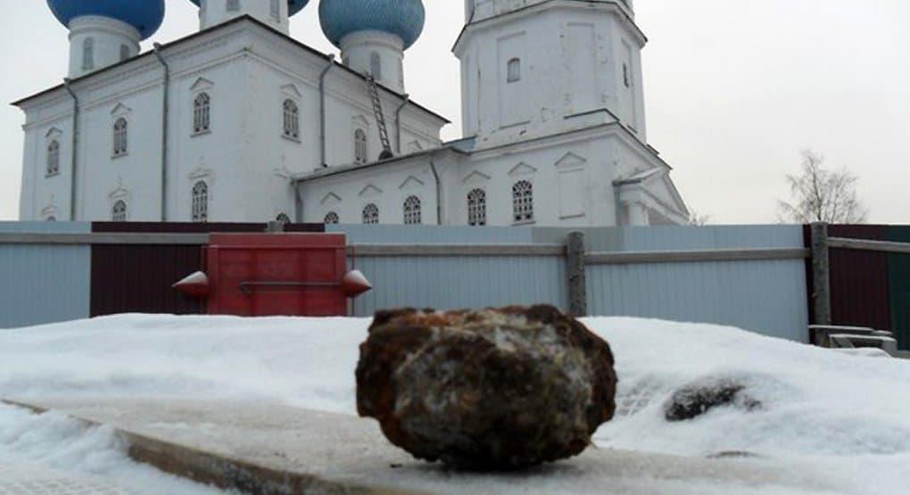 У стен архангельского храма нашли гранату без чеки времен Гражданской войны