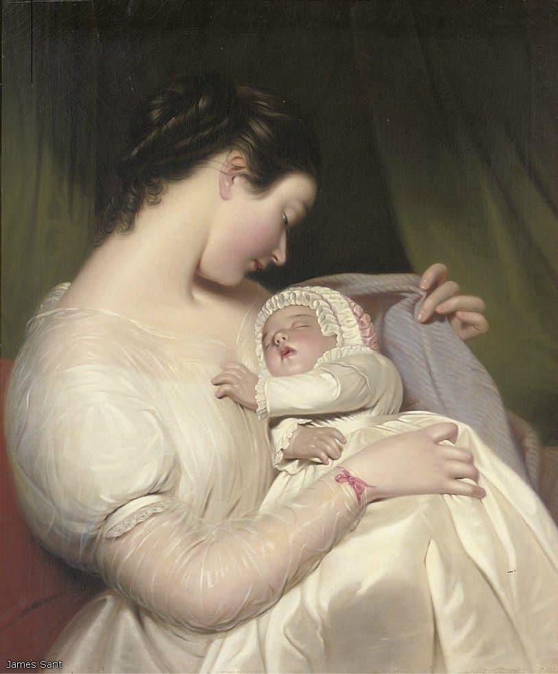 Открытка мама и дитя, днем