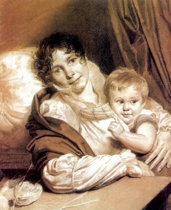 Открытки ко дню матери: Кипренский О. А. Мать с ребенком