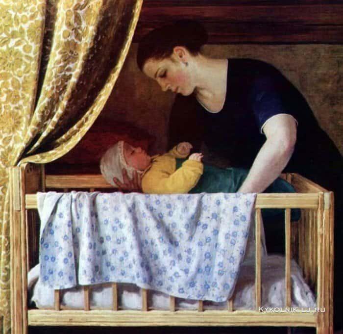 Открытки ко дню матери: Кугач Ю. П. У колыбели