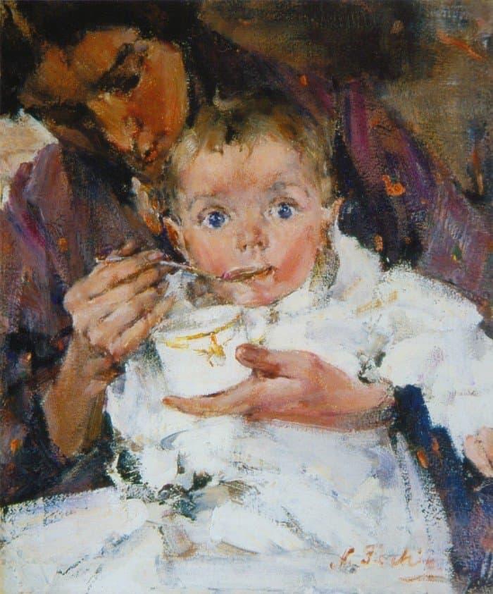 Открытки ко дню матери: Николай Фешин. Мать и дитя. Портрет А. Н. Фешиной с дочерью