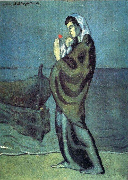 Открытки ко дню матери: Пикассо П. Мать и дитя на берегу
