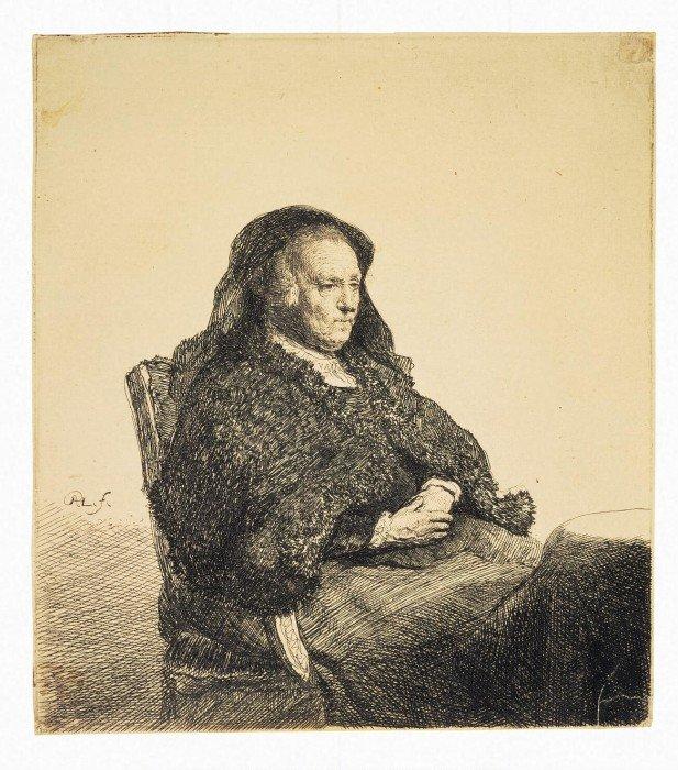 Открытки ко дню матери: Рембрандт Харменс ван Рейн. Портрет матери Рембрандта, сидящей за столом