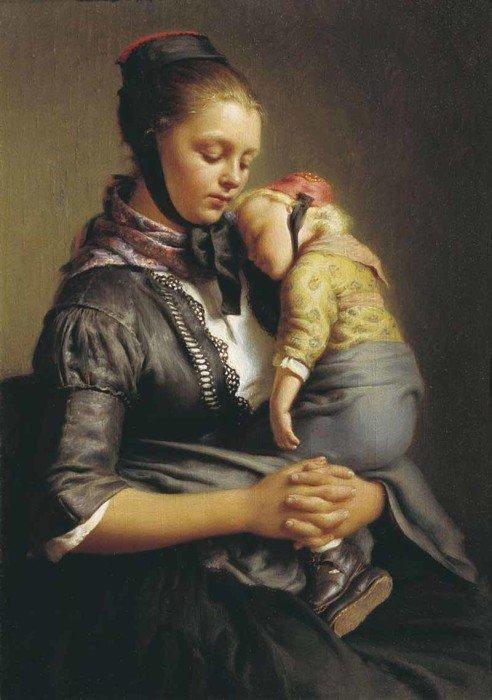 Открытки ко дню матери: Рейтерн Е. Р. Крестьянка из Вилленсхаузена с уснувшим ребенком на руках.