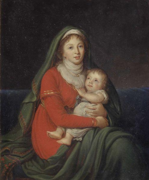 Открытки ко дню матери: Тупылев И. Ф. Портрет графини С.В. Строгановой с сыном Александром
