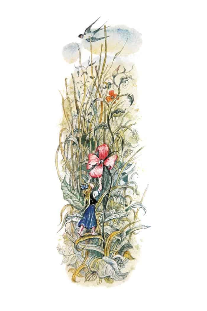 Свидание сЛасточкой. Иллюстрация ксказке Г. Х. Андерсена «Дюймовочка». 2004.