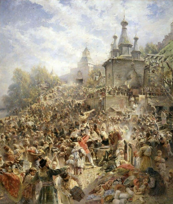 Константин Егорович Маковский «Минин на площади Нижнего Новгорода, призывающий народ к пожертвованиям» [ок. 1895]