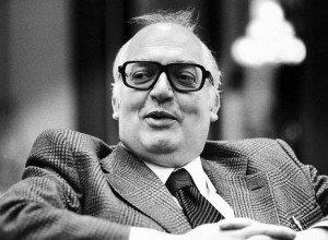 Portrait of Swiss author and dramatist Friedrich Duerrenmatt taken at a hotel in Vienna, Austria on November 18, 1975. (AP Photo)